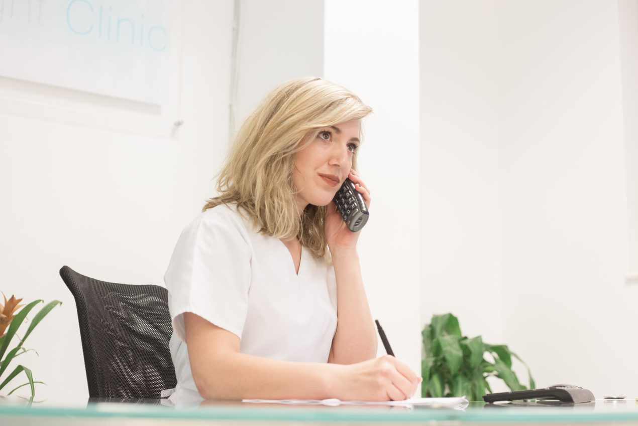 Team member on the phone