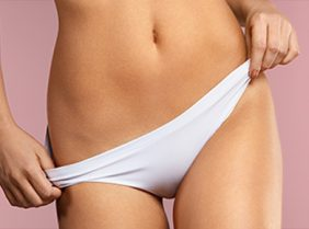 A lady with white underwear on in a pink background on Pulse Light Clinics homepage