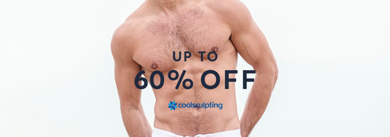 Promotional man graphic for CoolSculpting