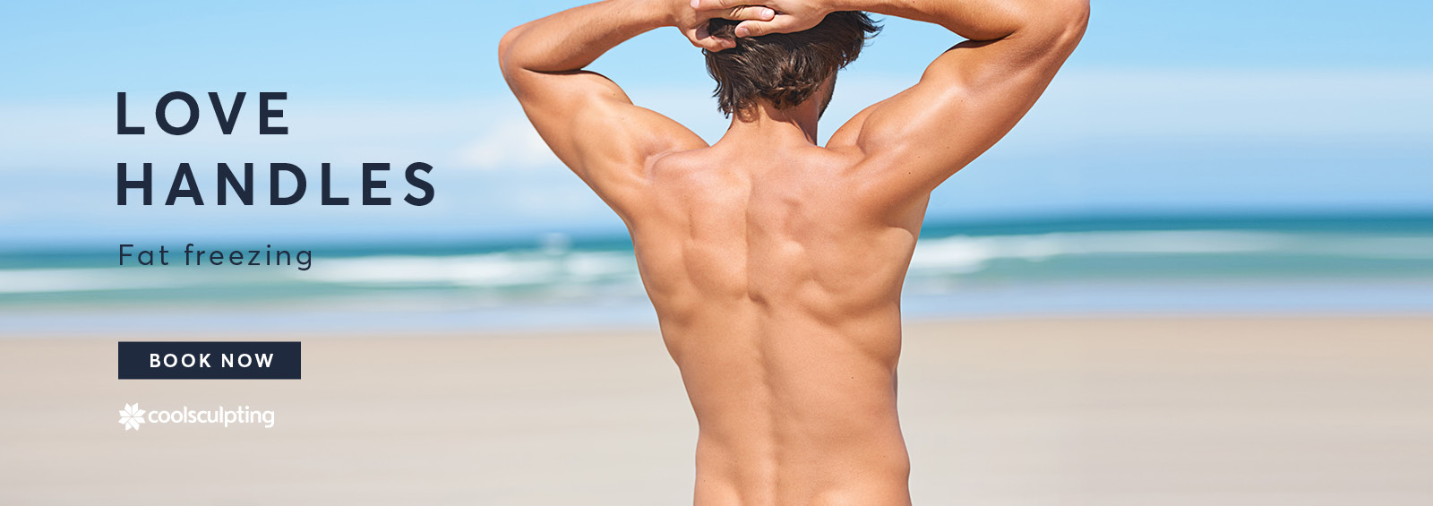 A banner image of a Male on the beach showing his love handles for CoolSculpting treatment