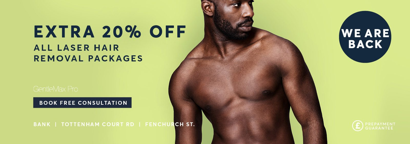 laser hair removal for men extra 20% discount